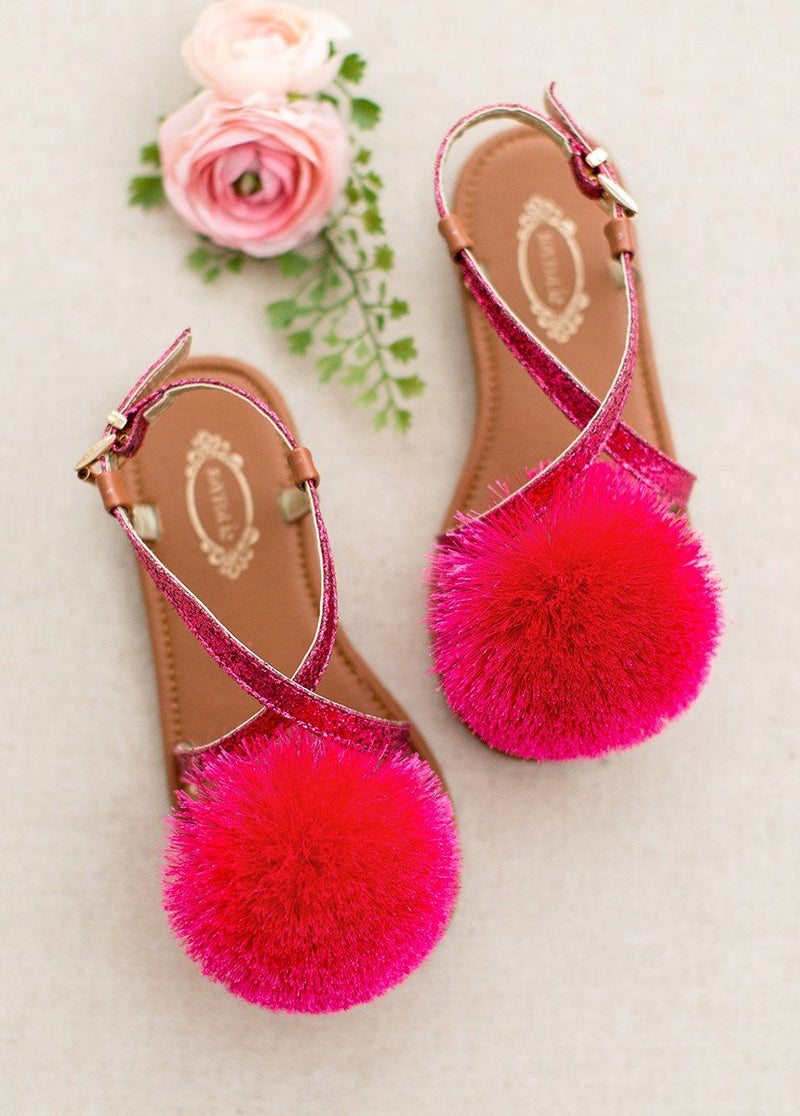 Lilah Pom Sandals in Fuchsia
