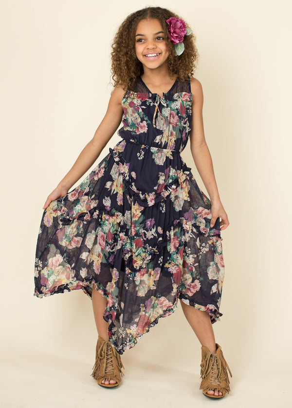 Madison Midi Dress in Navy Floral