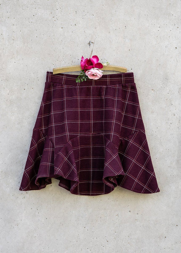 Maeve Skirt in Burgundy Plaid