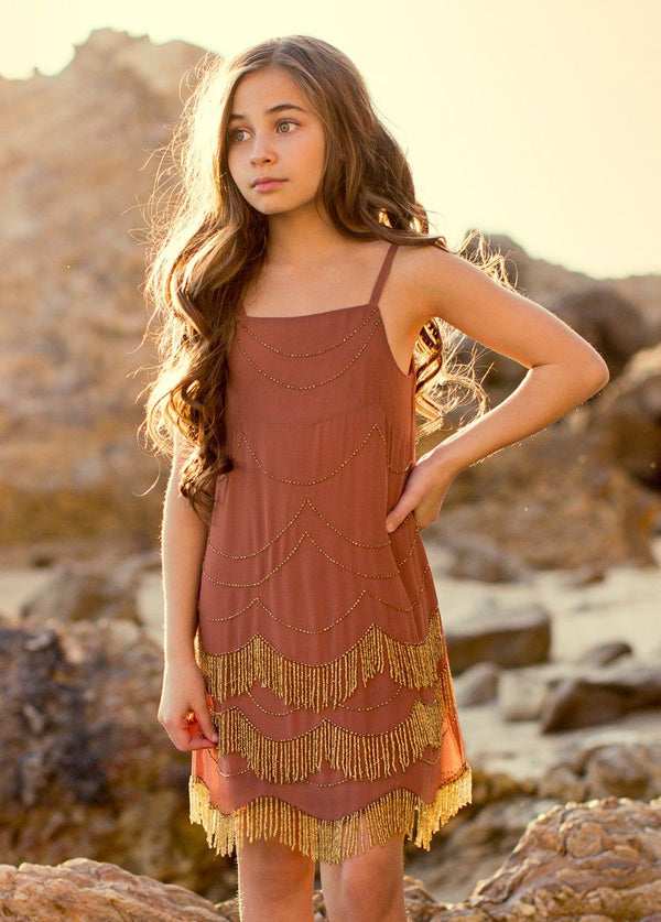 Magnolia Dress in Clay and Gold