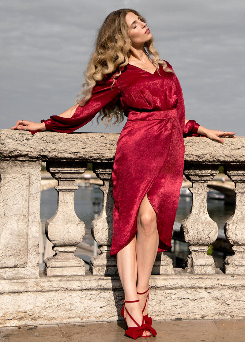 Marcella Dress in Scarlet