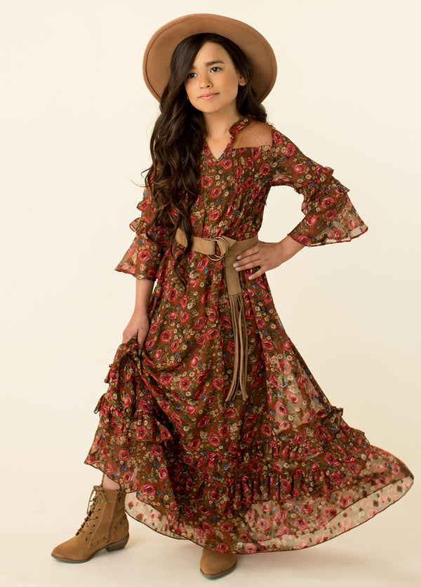 Mariana Dress in Rust Floral
