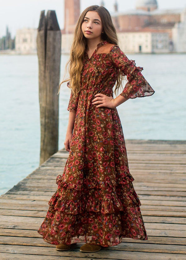 *NEW* Mariana Dress in Rust Floral