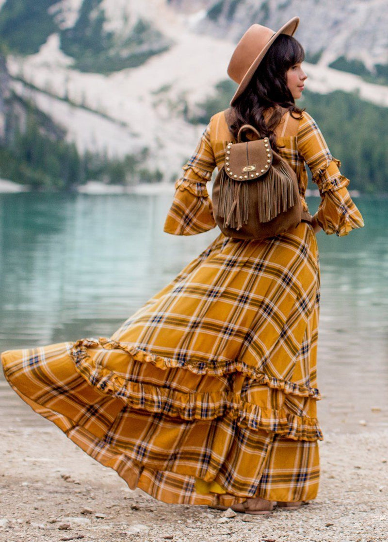 Mariana Dress in Ochre Plaid