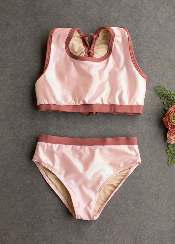 Mimi Two-Piece Swimsuit in Metallic Pink