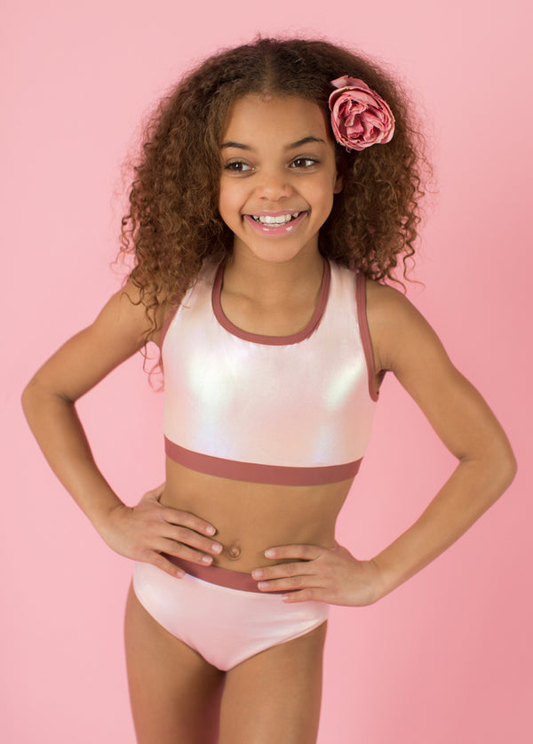 *NEW* Mimi Two-Piece Swimsuit in Metallic Pink