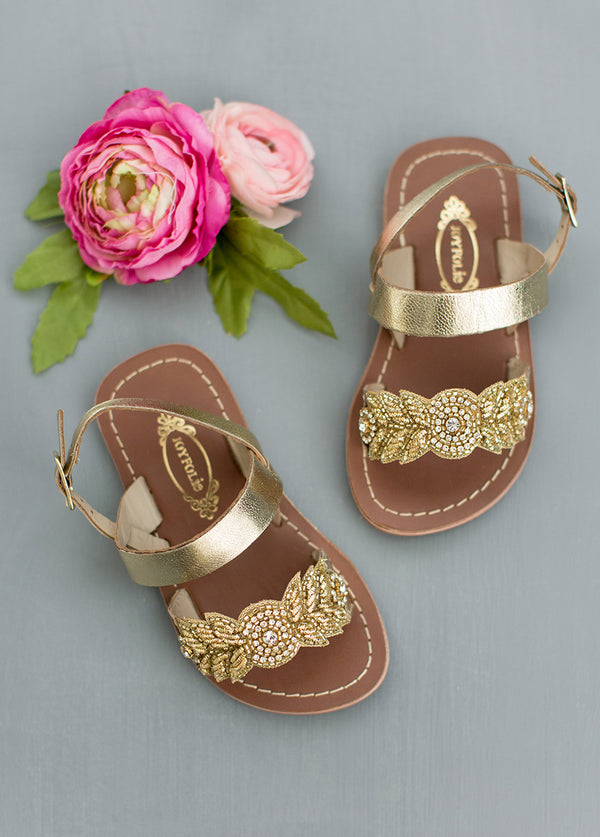 Natalia Leather Sandals in Gold