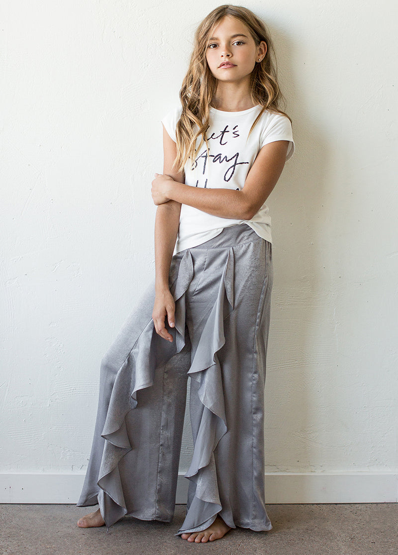 Nicolette Pajama Pant in Silver Grey