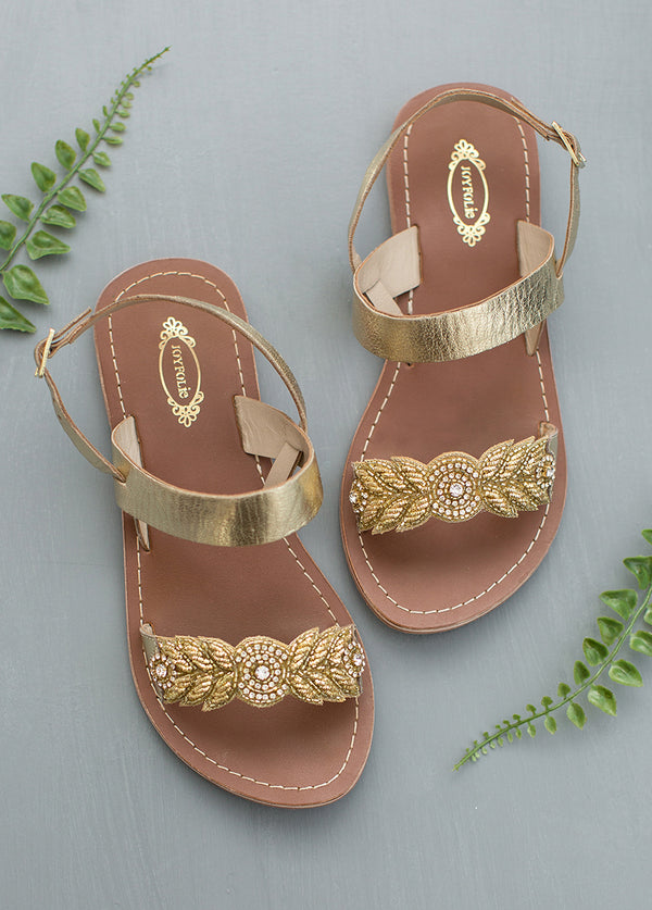 Women's Nikita Leather Sandals in Gold
