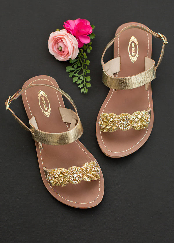 *NEW* Women's Nikita Leather Sandals in Gold