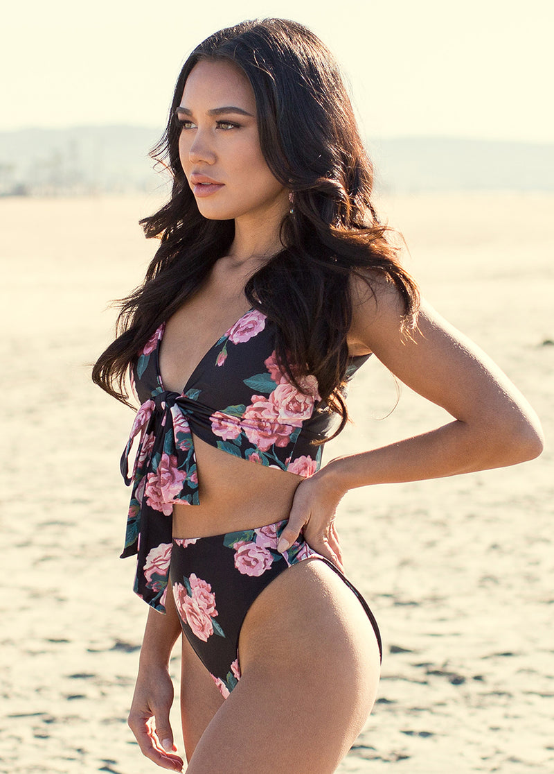 Nikki Two-Piece Swimsuit in Black Floral