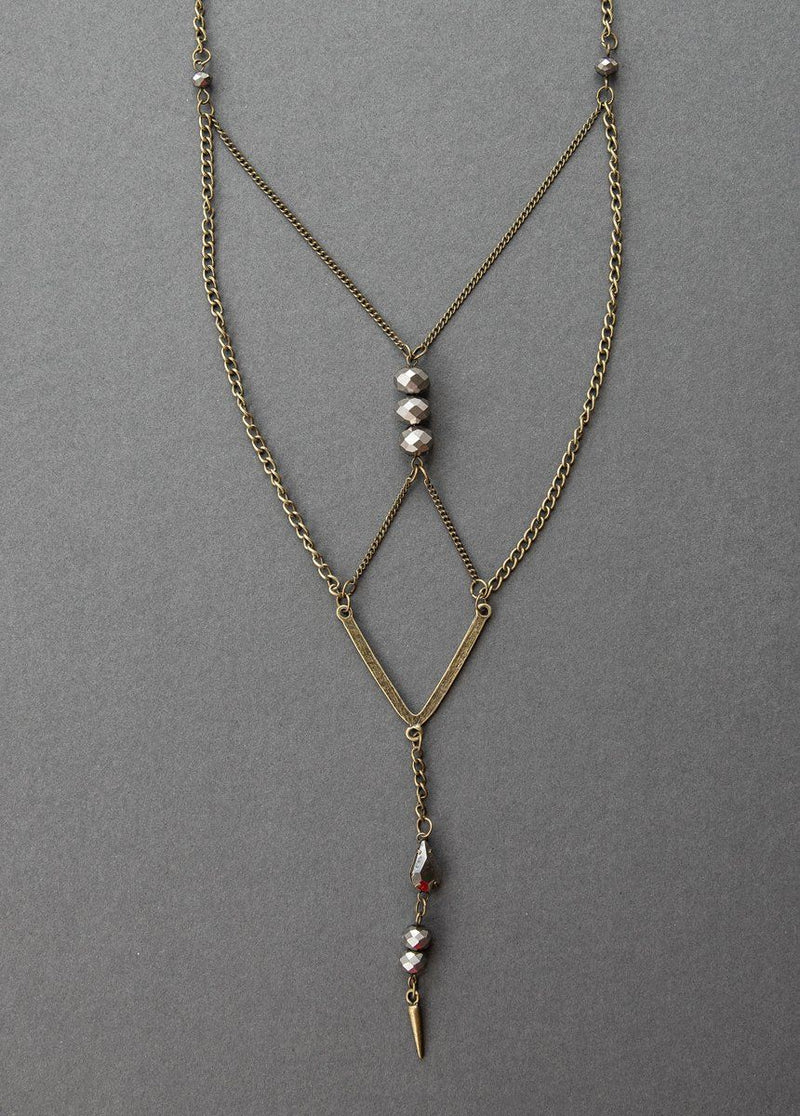 Nisha Necklace in Antique Brass