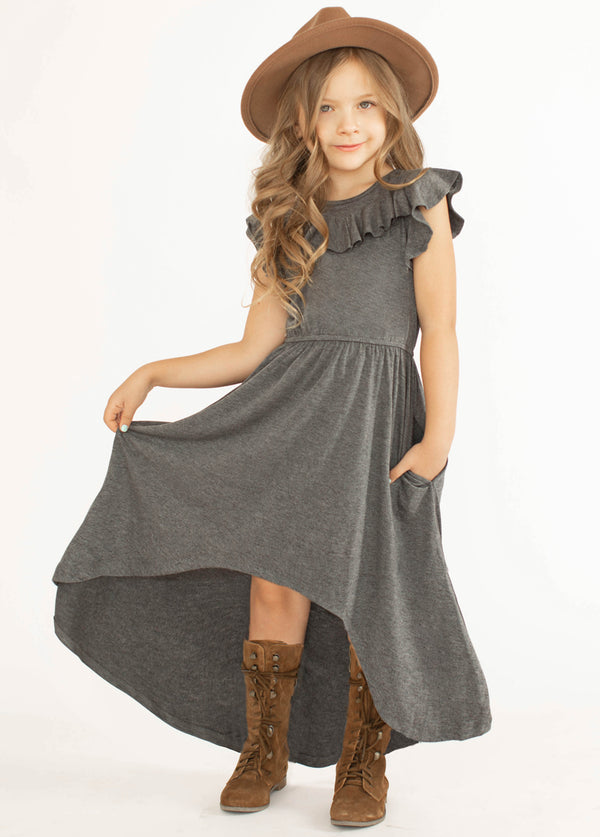 Nyla Dress in Heather Charcoal