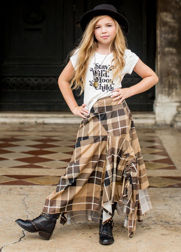 Perri Skirt in Neutral Plaid