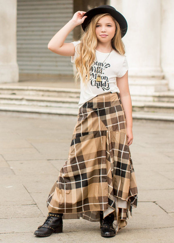*NEW* Perri Skirt in Neutral Plaid
