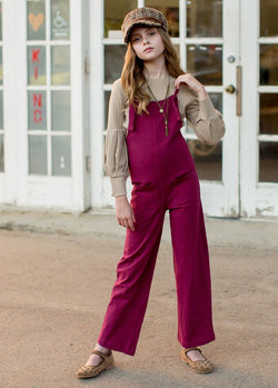 Quincy Knit Overalls in Burgundy