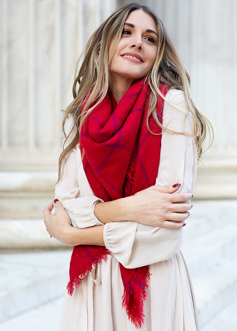 Judy Scarf in Red Dahlia