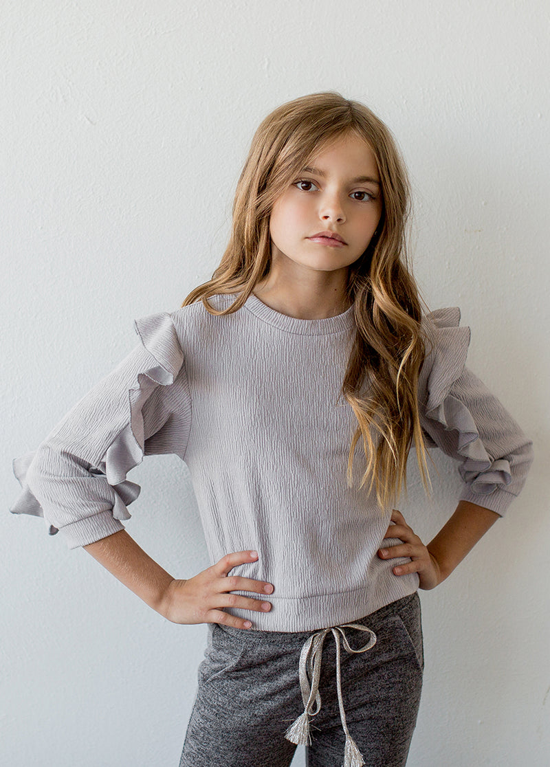 Regina Top in Light Grey