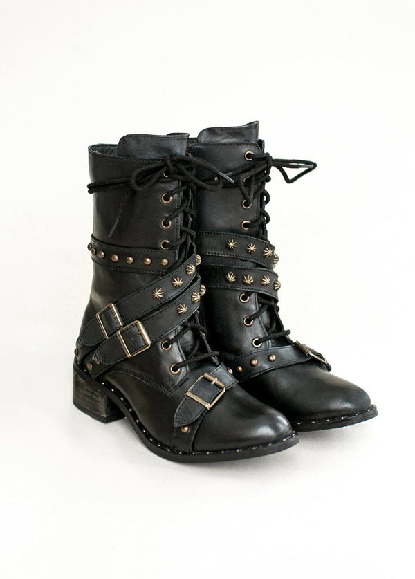 *NEW* Rory Leather Combat Boot in Distressed Black