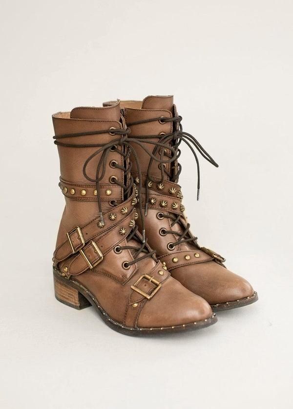 *NEW* Rory Leather Combat Boot in Brown