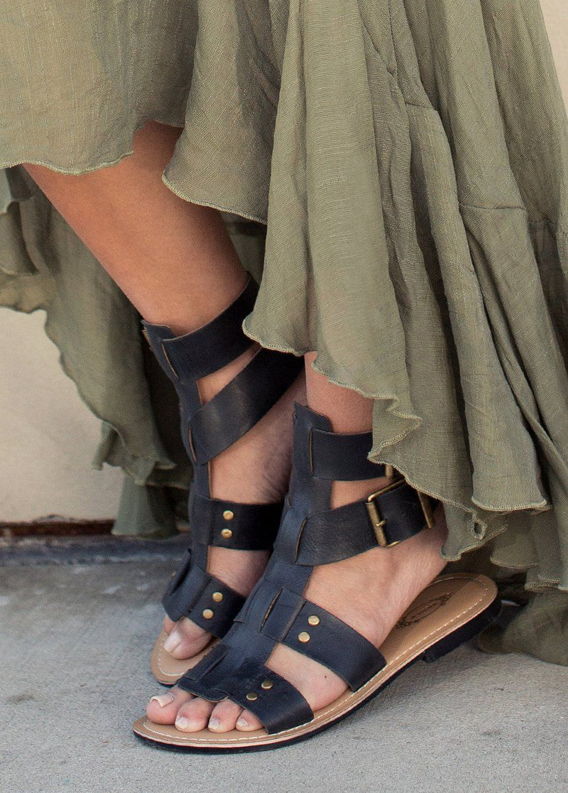 *NEW* Sarai Leather Gladiator in Black
