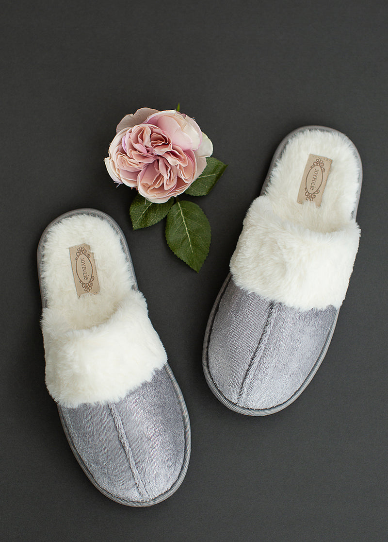 Serenity Velvet Slipper in Silver Birch