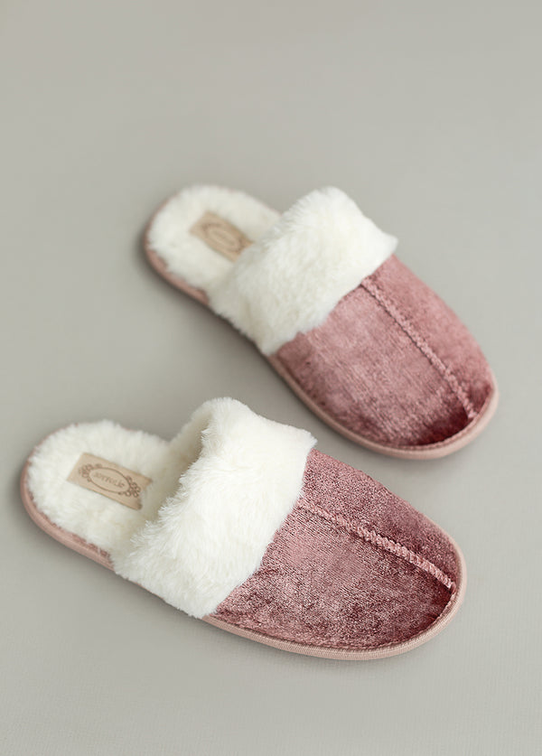 Serenity Velvet Slipper in Dusty Rose