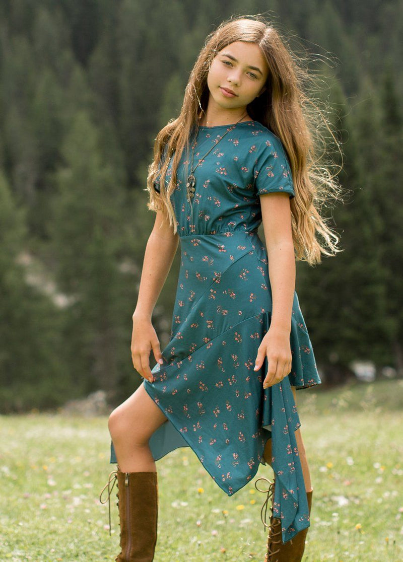 Shay Dress in Teal Ditsy