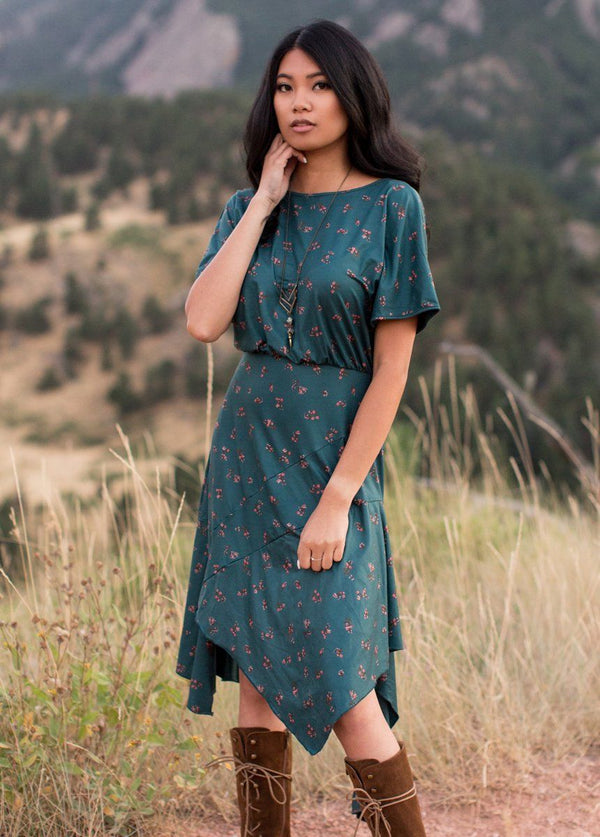 *NEW* Shiloh Dress in Teal Ditsy