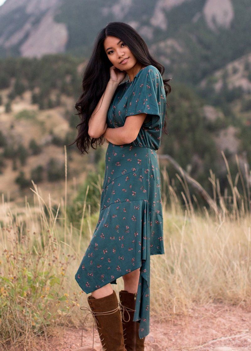 Shiloh Dress in Teal Ditsy