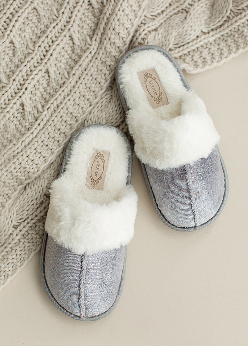 Sylvie Velvet Slipper in Silver Birch