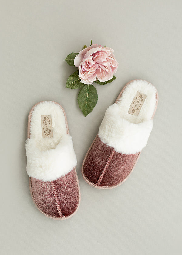 *NEW* Sylvie Velvet Slipper in Dusty Rose