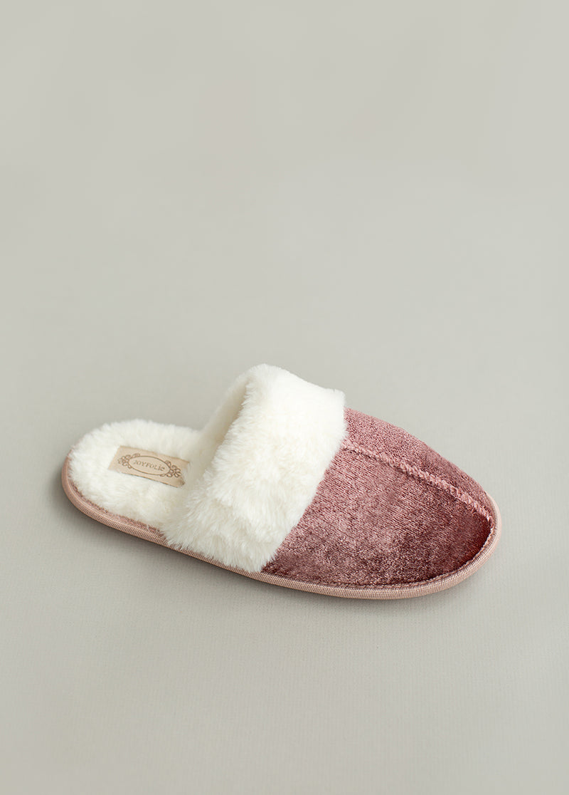 Sylvie Velvet Slipper in Dusty Rose