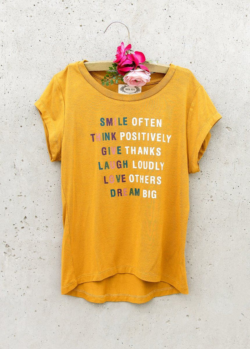 Smile Often Tee in Mustard