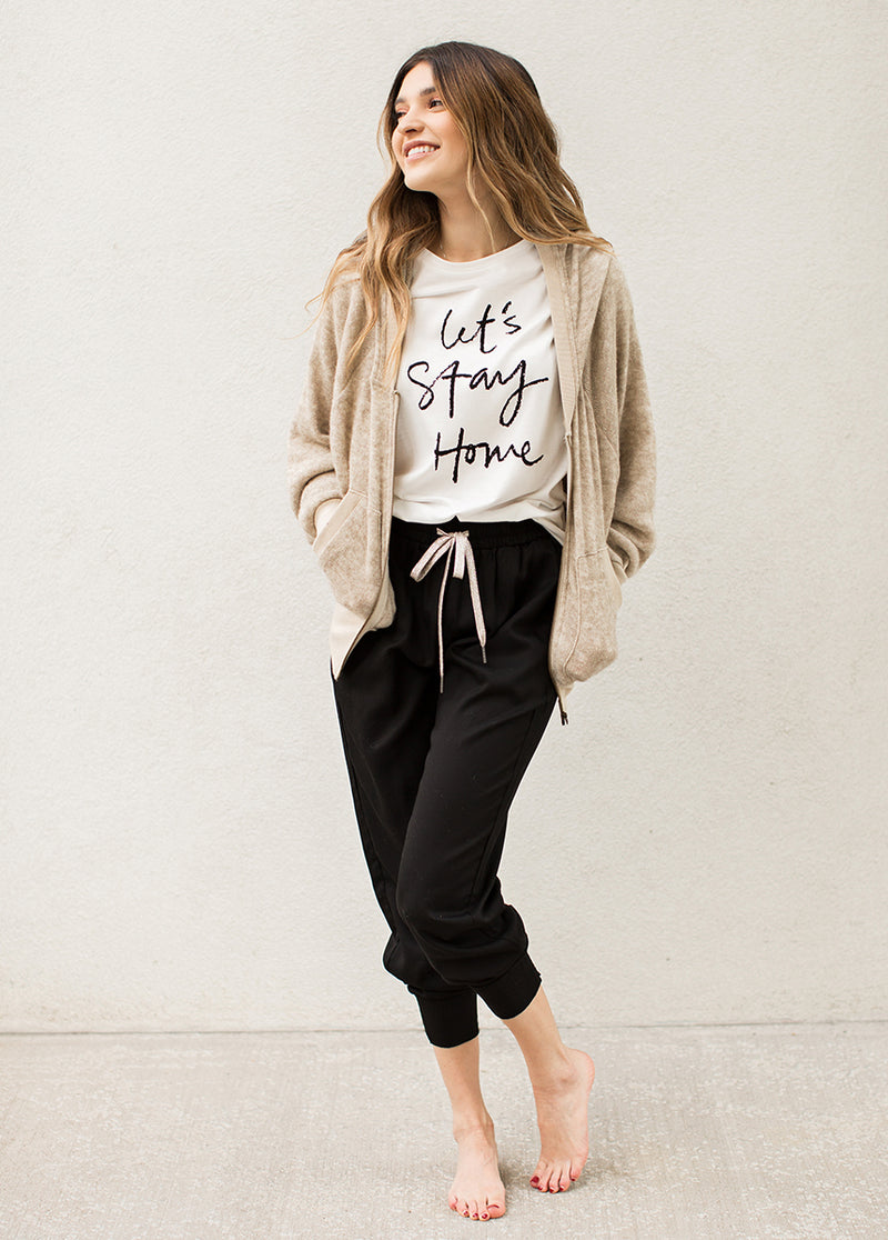 Women's Let's Stay Home Tee in Cream