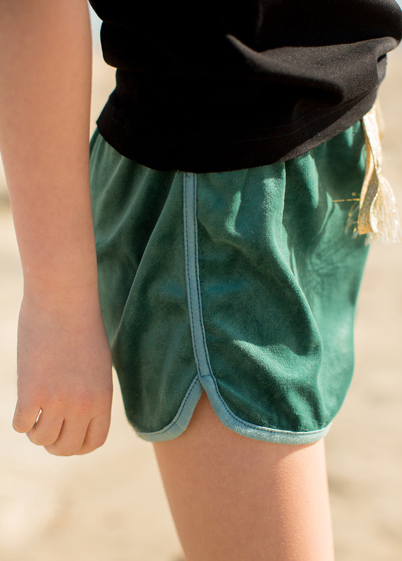 Stevie Short Set in Black and Teal