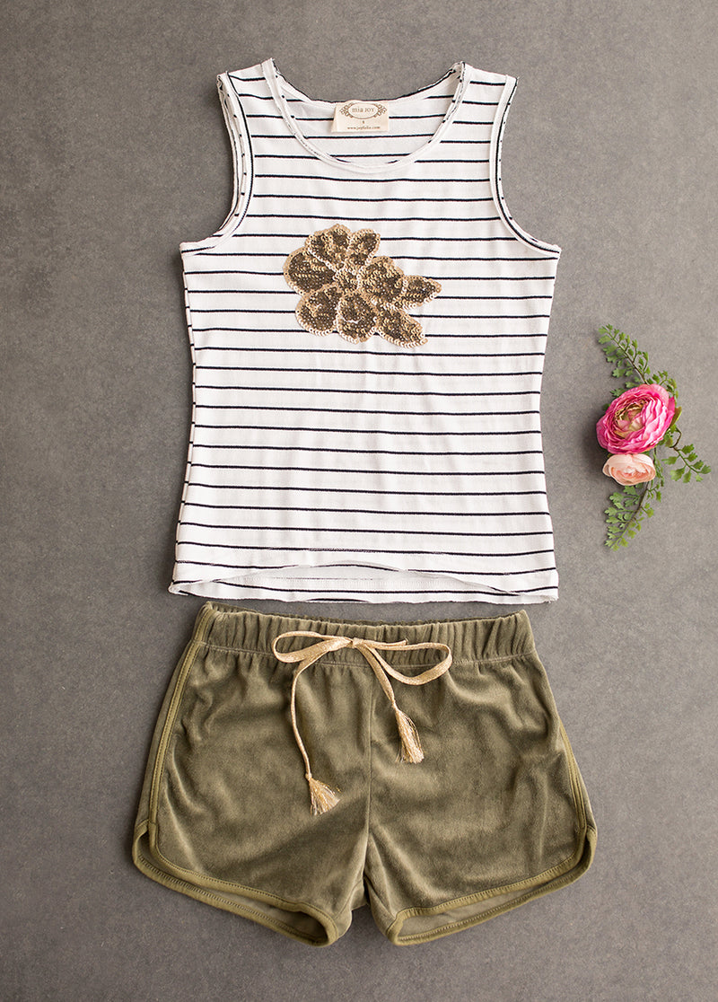 Stevie Short Set in Stripe and Olive