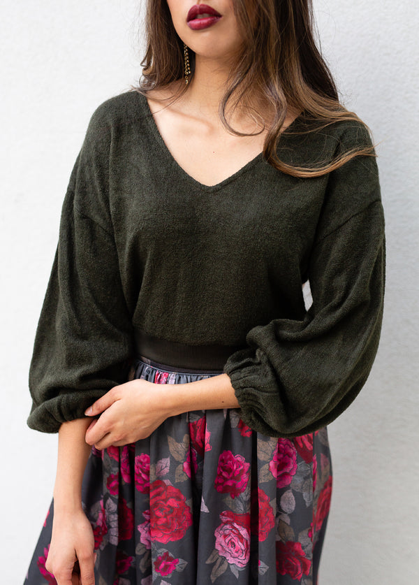 Tara Knit Top in Evergreen