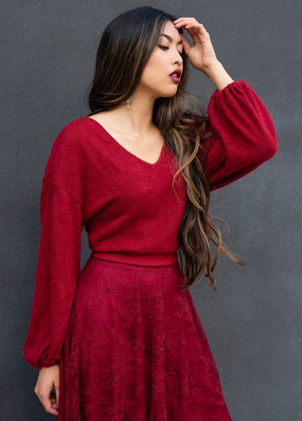 *NEW* Tara Knit Top in Garnet