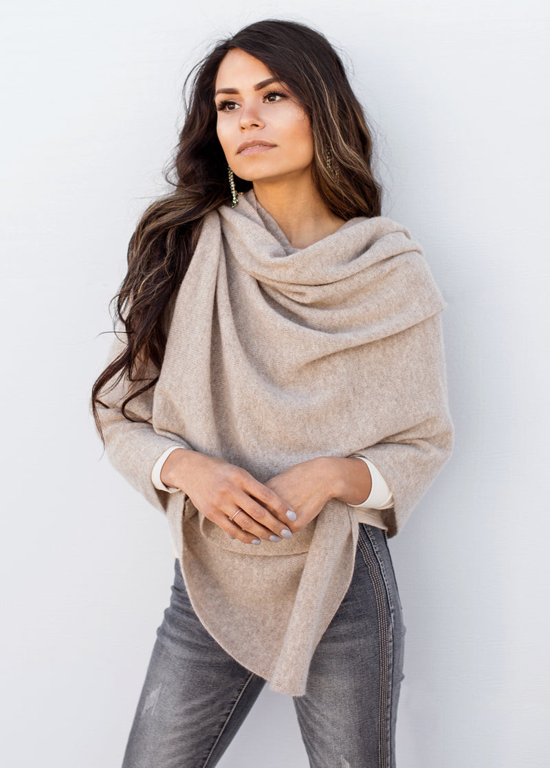 *NEW* Camilla Cashmere Wrap in Taupe