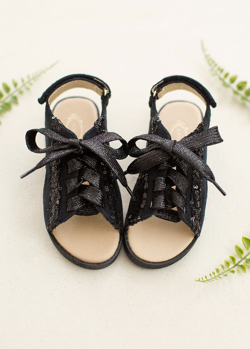 Tessa Lace-Up Sandals in Black