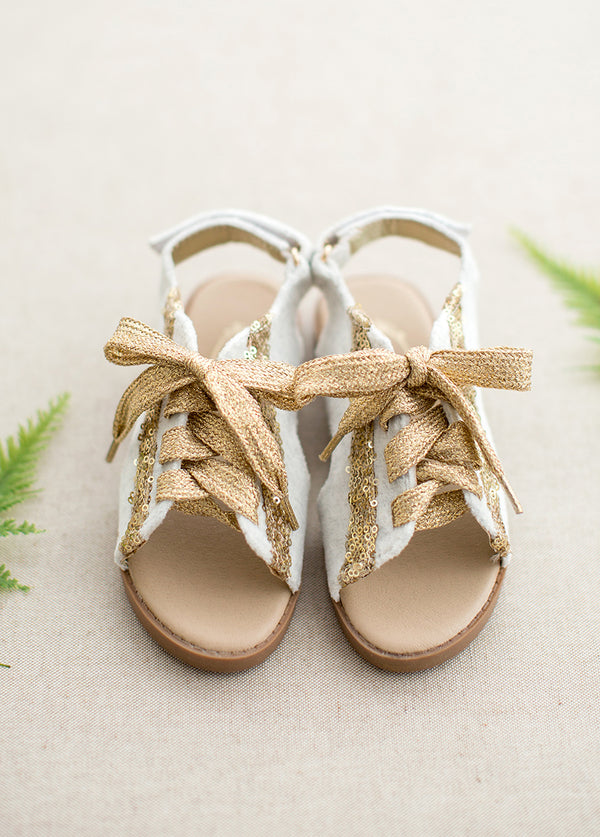 Tessa Lace-Up Sandals in Gold