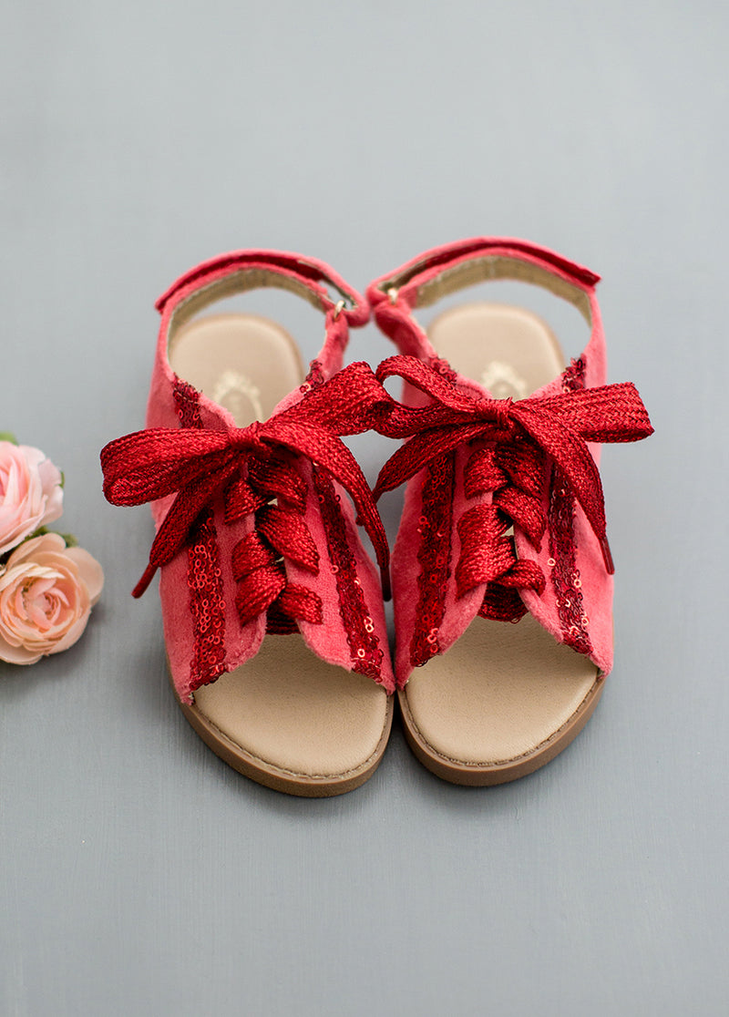 Tessa Lace-Up Sandals in Red