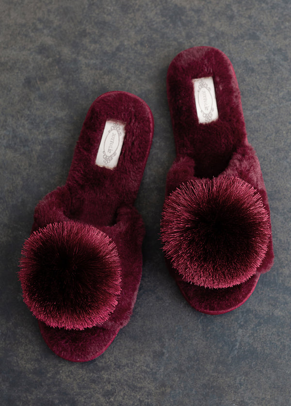 Tianna Pom Slipper in Burgundy