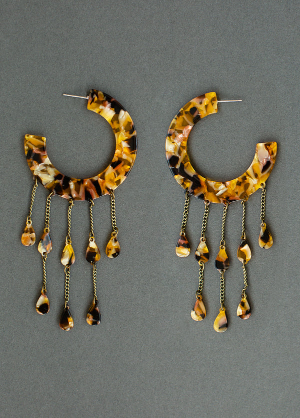 Vickey Earrings in Amber Tortoise