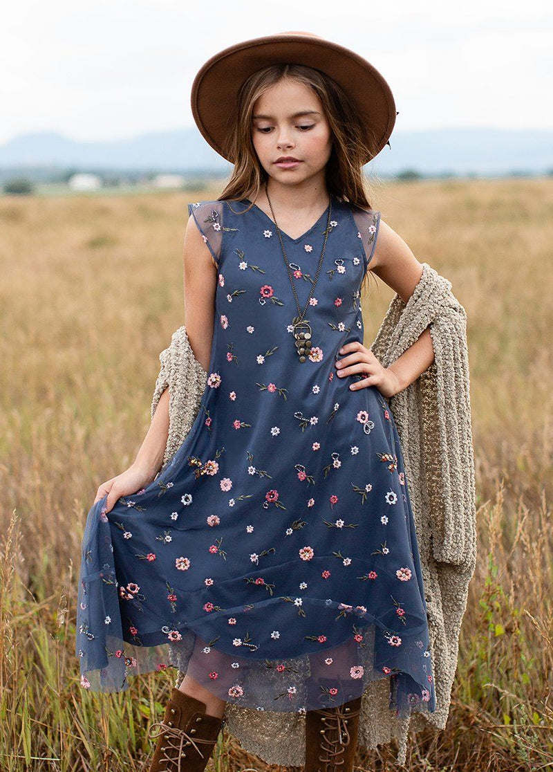 Willow Dress in Dusty Blue Floral
