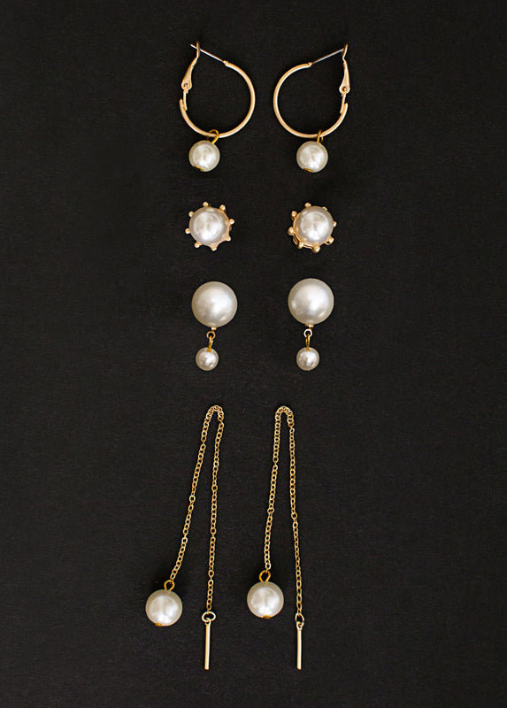 Zyla Earring Set in White