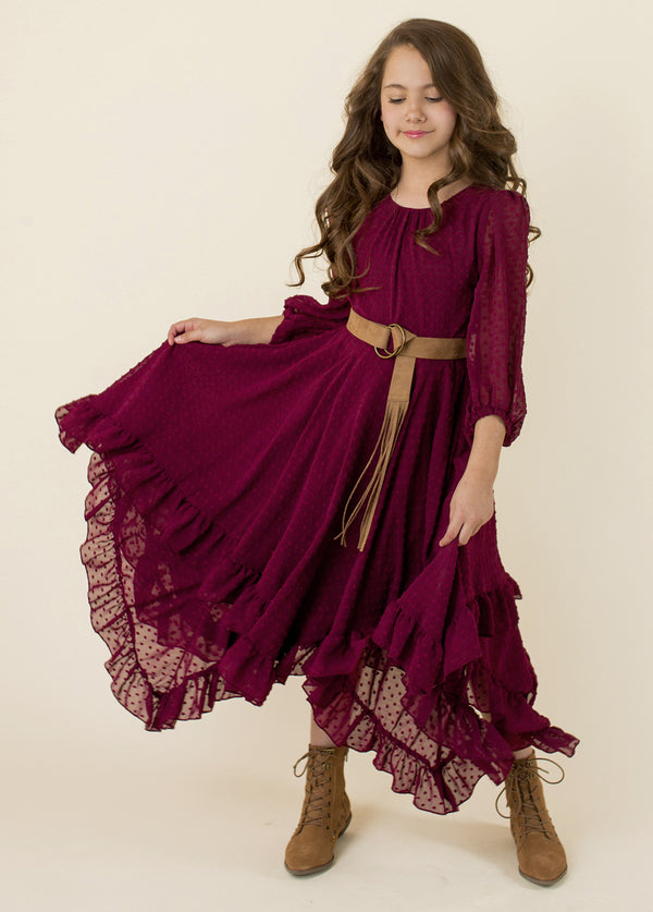 Abrielle Dress in Bordeaux
