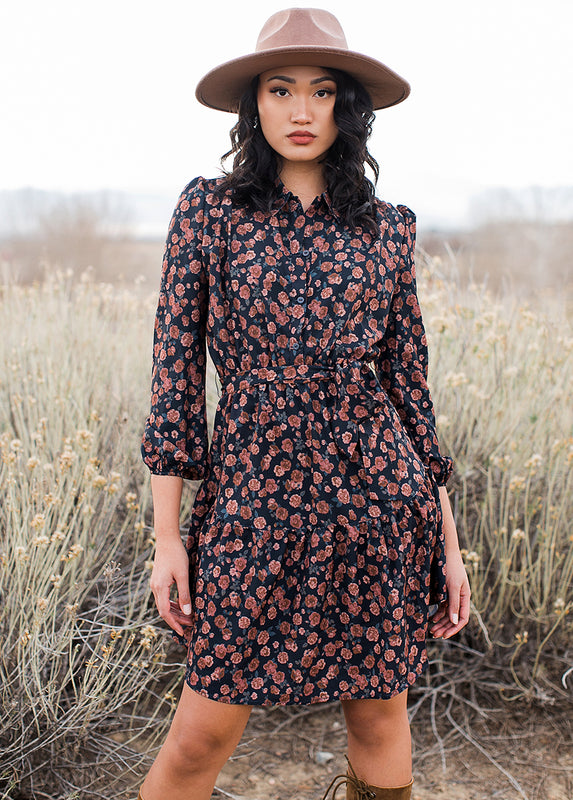 Aeron Dress in Navy Floral