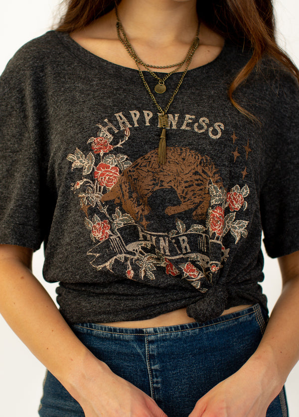 Happiness Hunter Top in Charcoal
